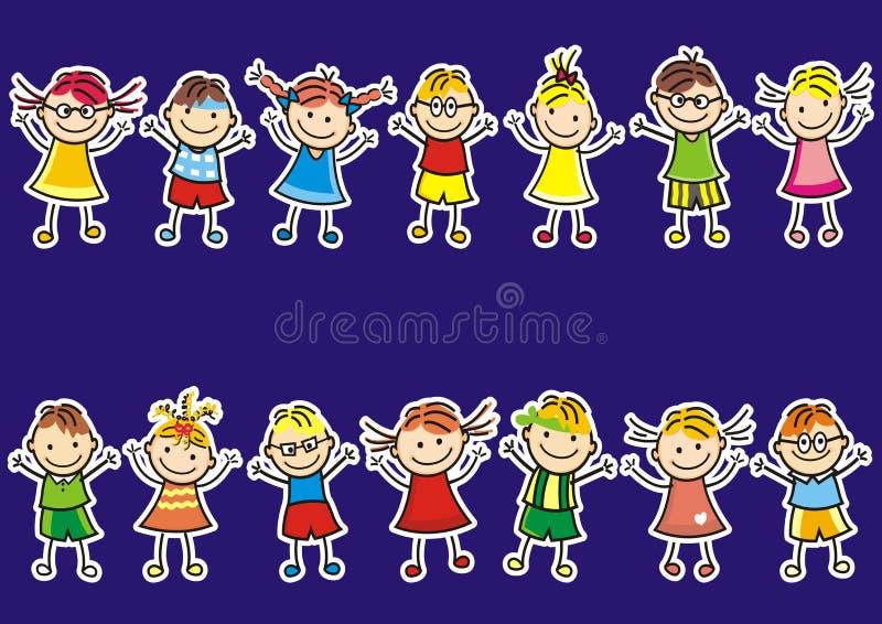 Dois grupos de jovens crianças em um fundo azul Engrena o ícone ilustração royalty free