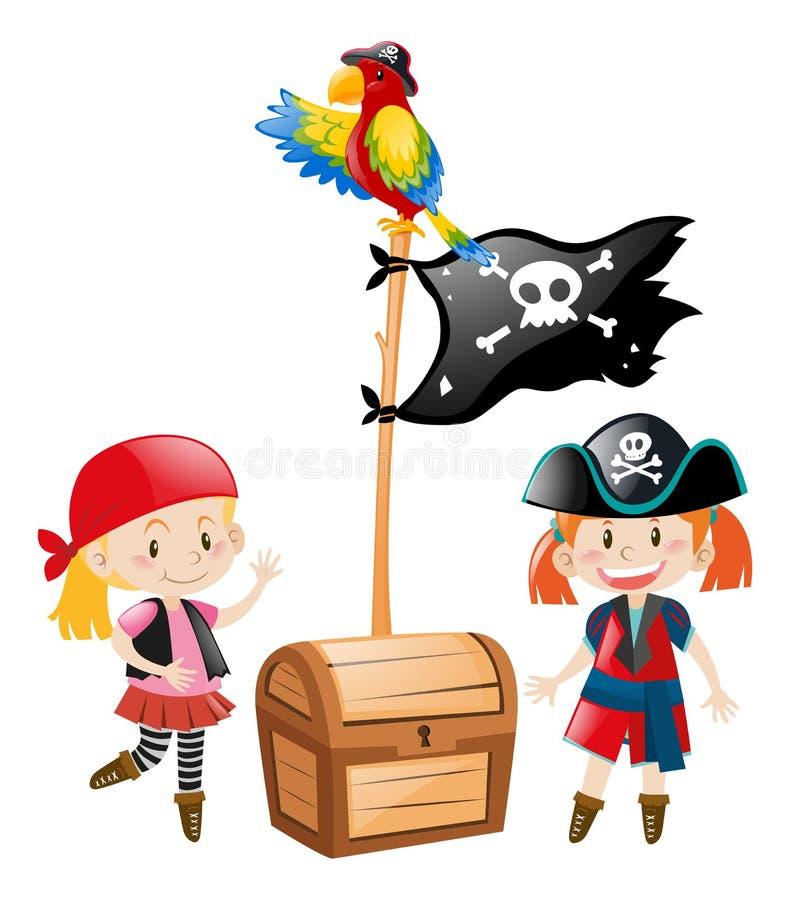 Dois grupos e bandeiras do pirata ilustração stock