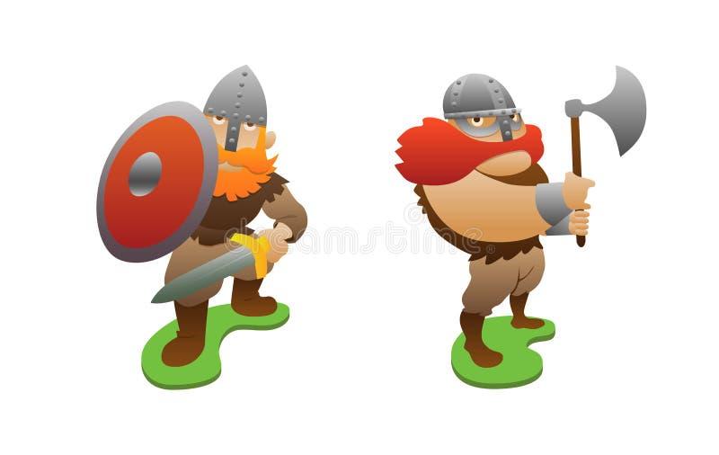 Dois guerreiros de viquingue ilustração stock
