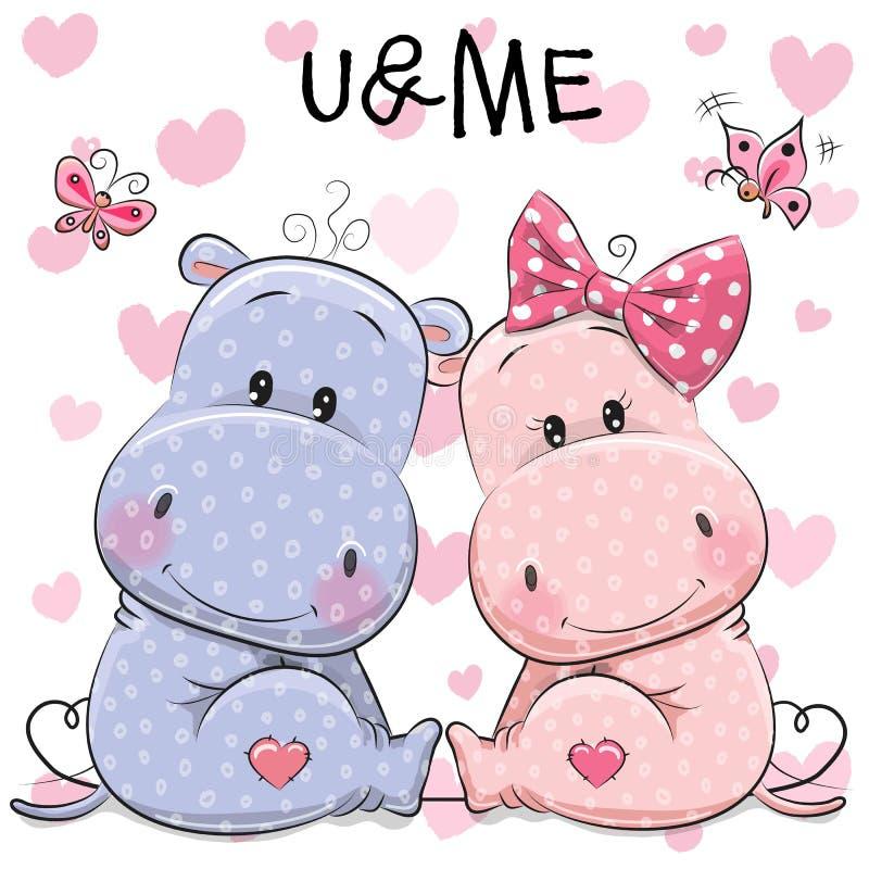 Dois hipopótamos bonitos ilustração royalty free