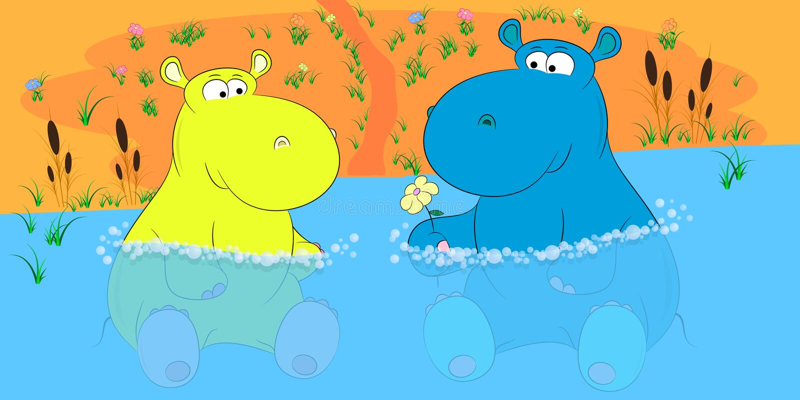 Dois hipopótamos em um vetor dos desenhos animados da lagoa ilustração stock