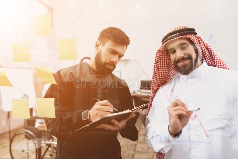 Dois homens árabes que trabalham no escritório Os colegas de trabalho estão tomando notas na frente da placa de vidro foto de stock