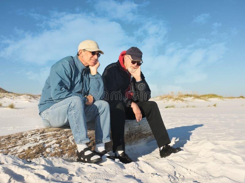Dois homens aposentados furados assentados na praia fotos de stock royalty free