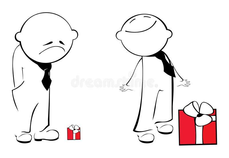 Dois homens com caixas de presente ilustração stock