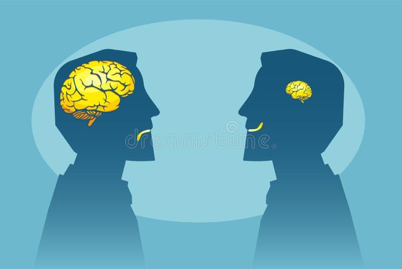 Dois homens com os tamanhos diferentes do cérebro que olham se ilustração do vetor