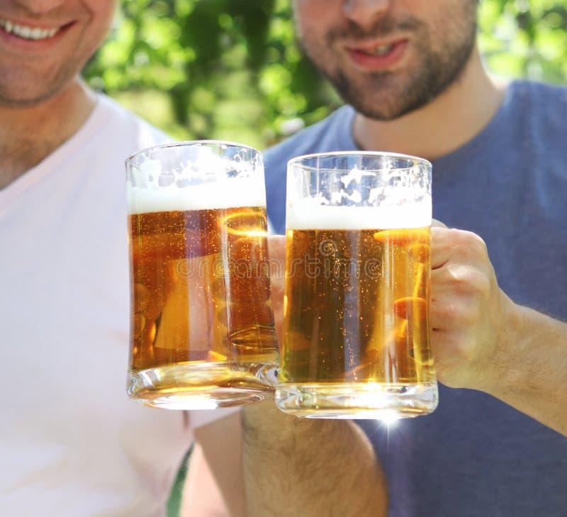 Dois homens com vidros da cerveja clara foto de stock royalty free
