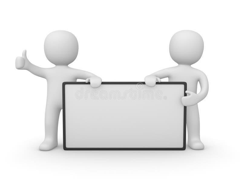 Dois homens 3d com cartaz branco ilustração royalty free