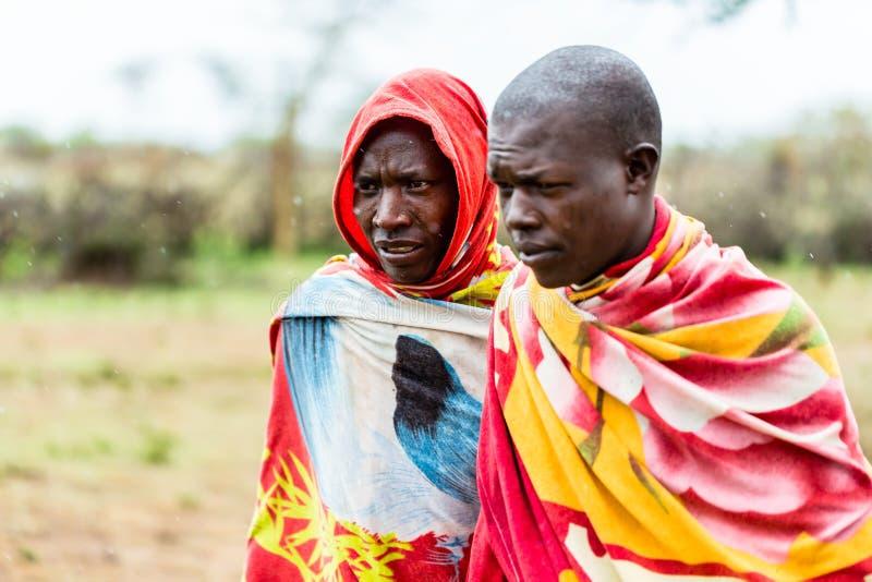 Dois homens de Massai que andam junto fotos de stock royalty free