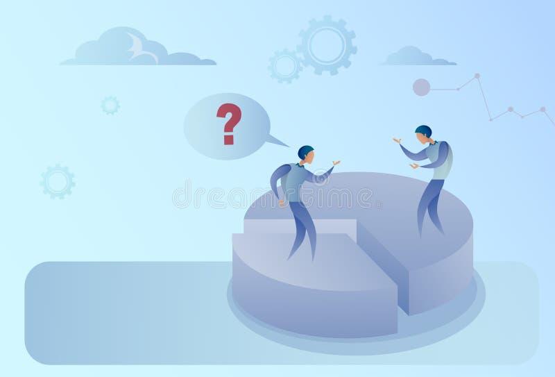 Dois homens de negócio no diagrama de torta que obtém partes da desigualdade, conceito do sucesso da competição dos homens de neg ilustração royalty free