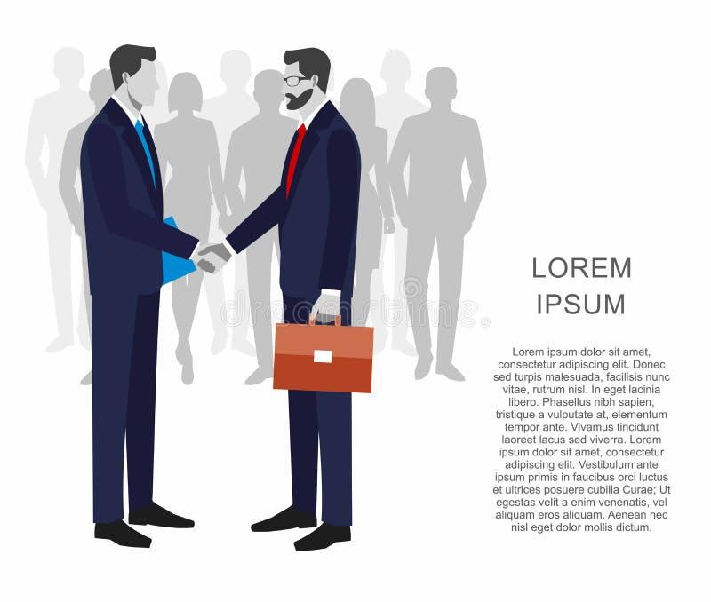 Dois homens de negócios nos ternos que agitam as mãos para assinar um contrato O conceito de uma transação bem sucedida Grupo de  ilustração do vetor