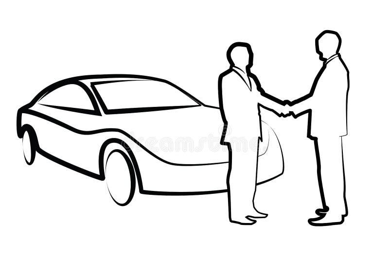 Dois homens de negócios que agitam as mãos na frente de uma ilustração automobilístico, ilustração royalty free