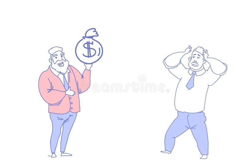 Dois homens de negócios que comunicam o empregador do conceito da motivação do saco do dólar da posse do chefe que guarda o esfor ilustração royalty free
