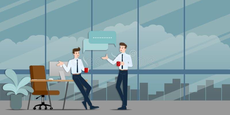 Dois homens de negócios que discutem-se O empregado que fala com a equipe sobre ideias do negócio ou sobre a organização comercia ilustração royalty free
