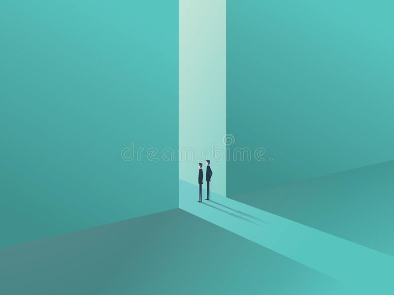 Dois homens de negócios que estão em uma porta como um símbolo de oportunidades de negócio, de desafio, de visão e de futuro ilustração stock