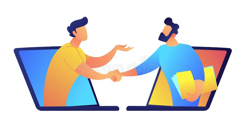 Dois homens de negócios que falam através do portátil selecionam a ilustração do vetor ilustração stock