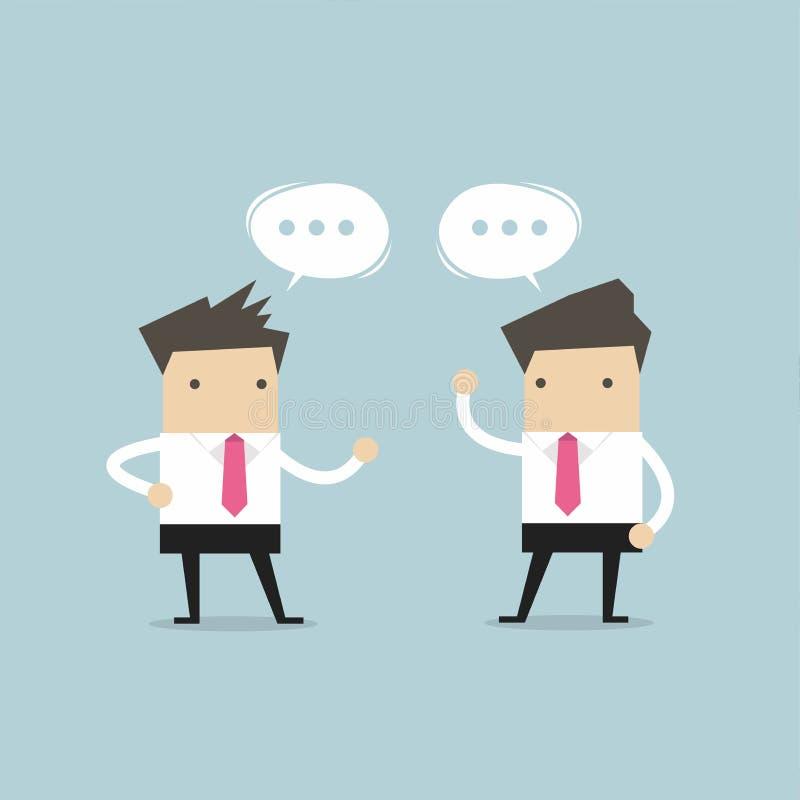 Dois homens de negócios que falam e que discutem sobre a estratégia empresarial ilustração royalty free
