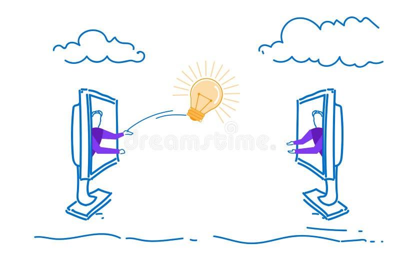 Dois homens de negócios que jogam a garatuja criativa do esboço de transferência das ideias de uma comunicação em linha nova clar ilustração stock