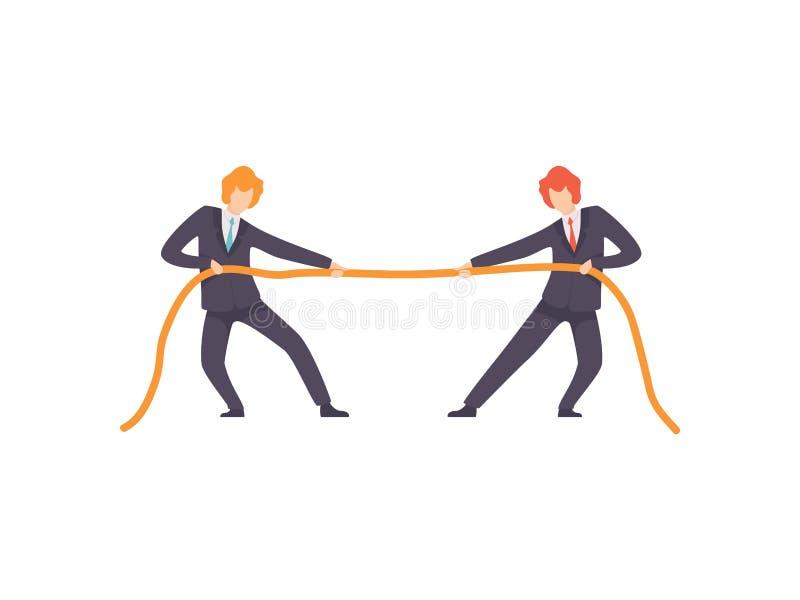 Dois homens de neg?cios que puxam extremos opostos da corda, competi??o do neg?cio, rivalidade entre colegas, trabalhadores de es ilustração stock