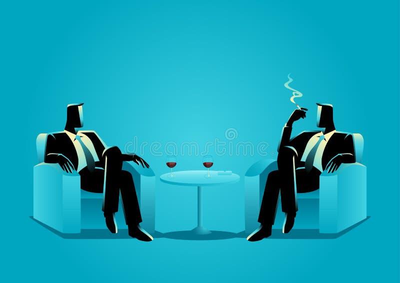 Dois homens de negócios que sentam-se no sofá ilustração royalty free