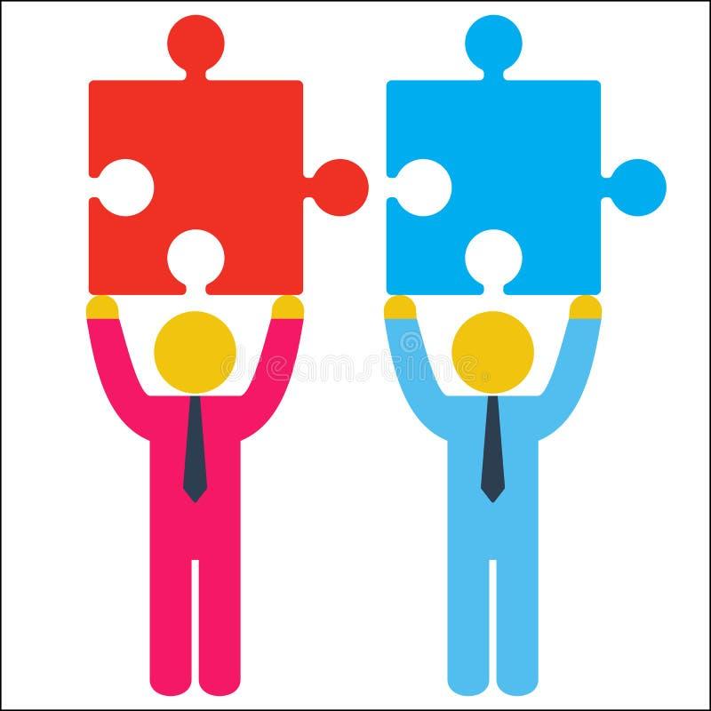 Dois homens de negócios que tentam conectar enigmas vermelhos e azuis ilustração stock