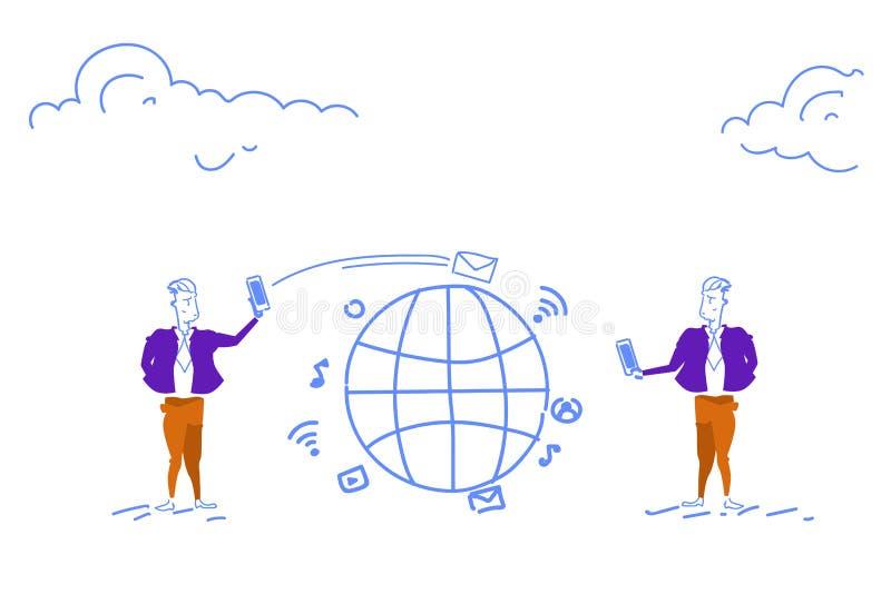 Dois homens de negócios que usam do conceito global de uma comunicação do bate-papo do smartphone a aplicação móvel em linha envi ilustração do vetor