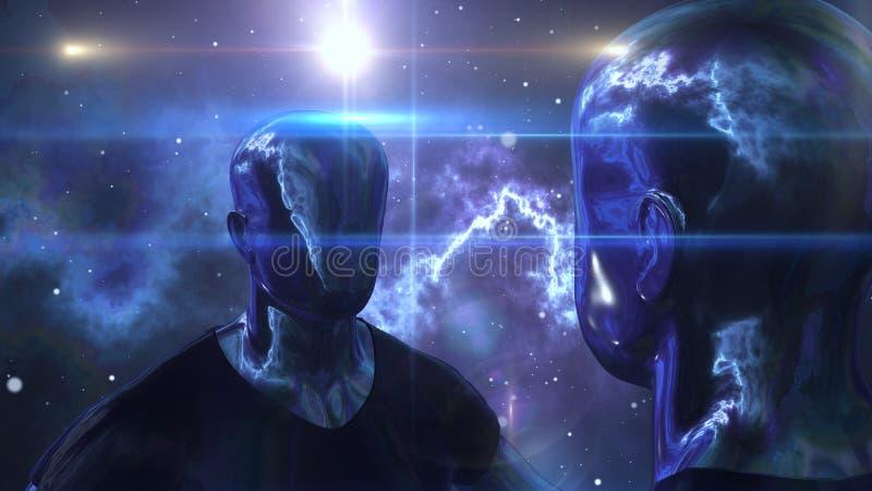 Dois homens do cyborg estão no universo preto ilustração stock