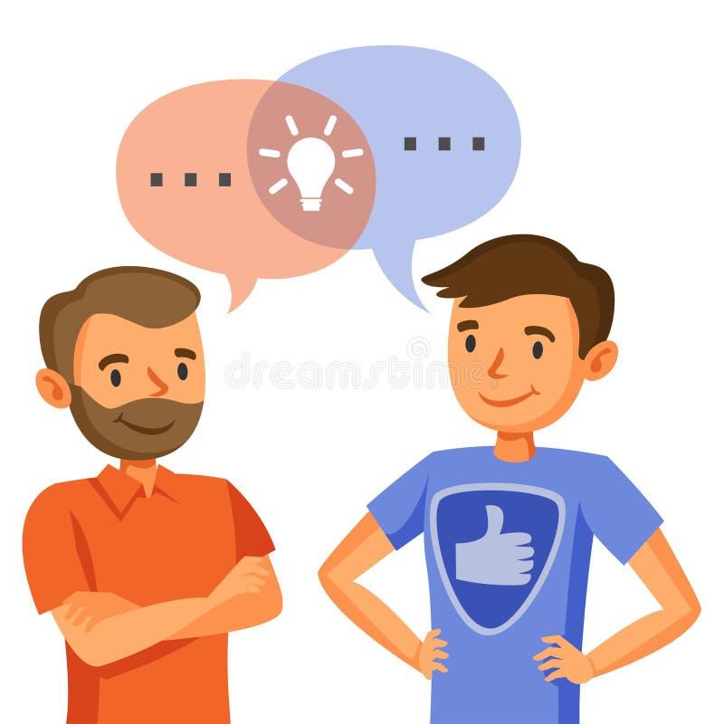 Dois homens falam, exame, troca das ideias, trabalhos de equipa, e progr ilustração do vetor