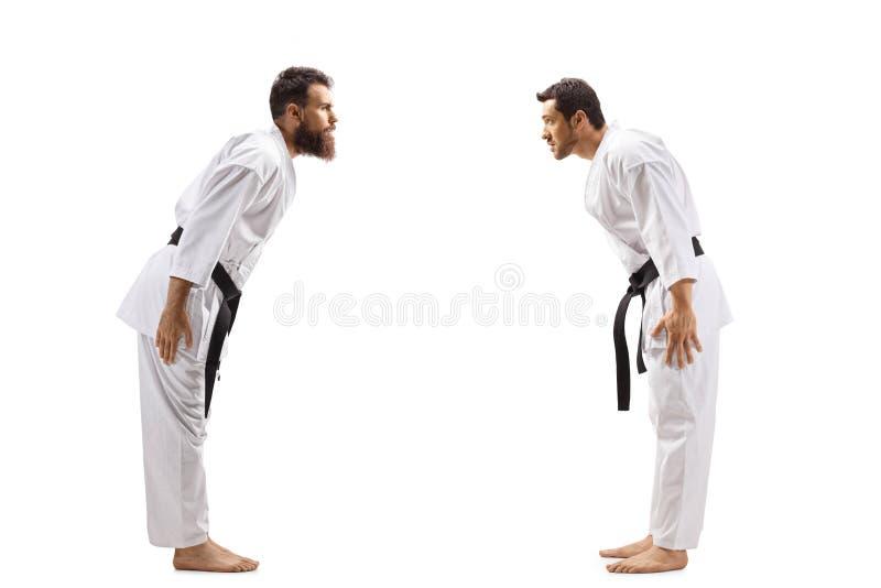 Dois homens no encurvamento dos quimonos do karaté foto de stock royalty free