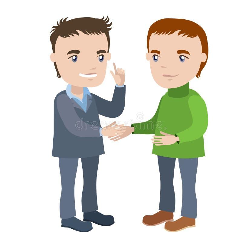 Dois homens que agitam as mãos ilustração stock