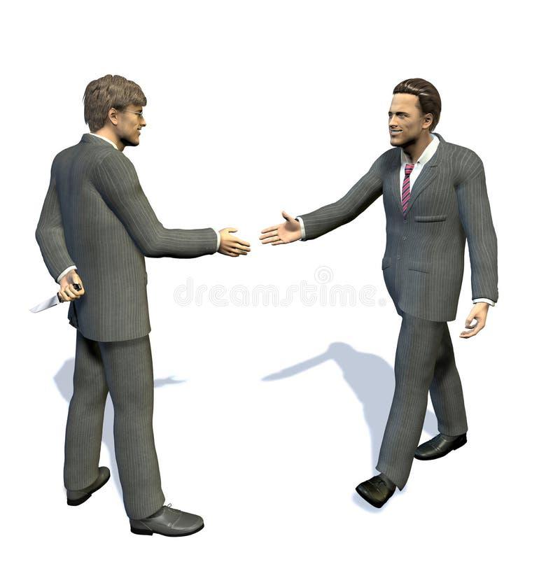 Dois homens que vão agitar as mãos, uma têm uma faca escondida. ilustração do vetor