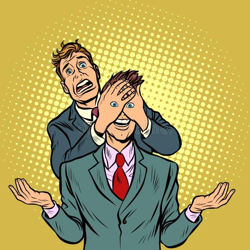 Dois homens, uma surpresa tentador ilustração do vetor