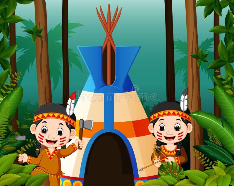 Dois indianos americanos da menina no acampamento ilustração royalty free