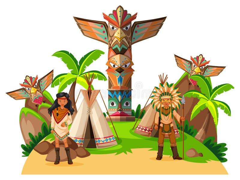 Dois indianos do nativo americano no acampamento ilustração stock
