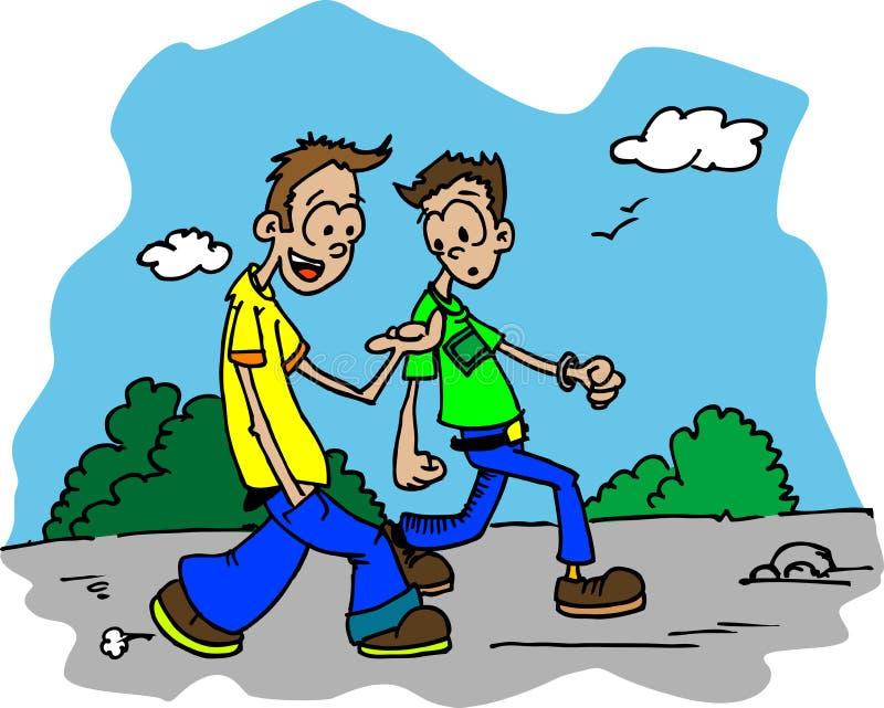 Dois indivíduos que andam abaixo da estrada e da fala ilustração stock
