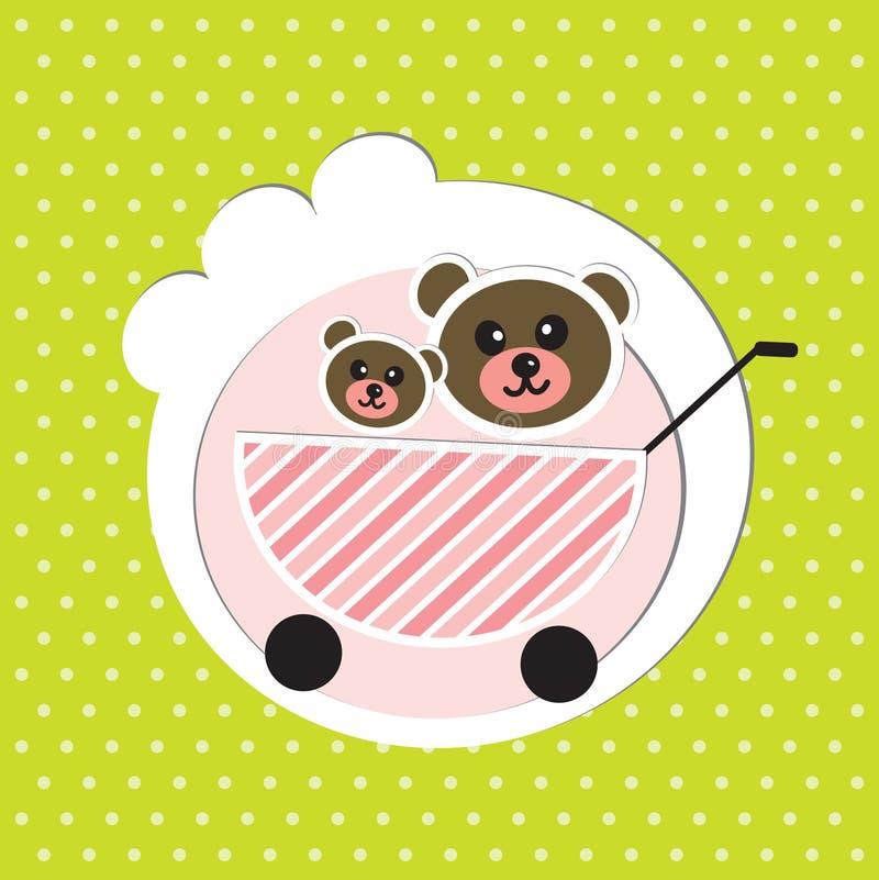 Dois irmãos dos ursos do bebê no carro de bebê ilustração royalty free
