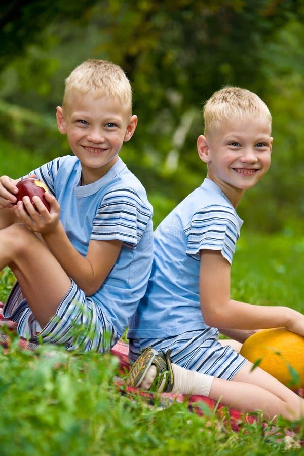 Dois irmãos gémeos de sorriso que prendem frutas fotografia de stock