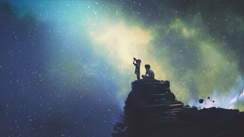 Dois irmãos que olham estrelas ilustração do vetor