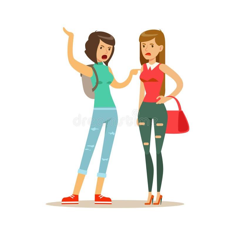 Dois irritaram os caráteres das mulheres que discutem e que gritam em se, ilustração negativa do vetor do conceito das emoções ilustração stock