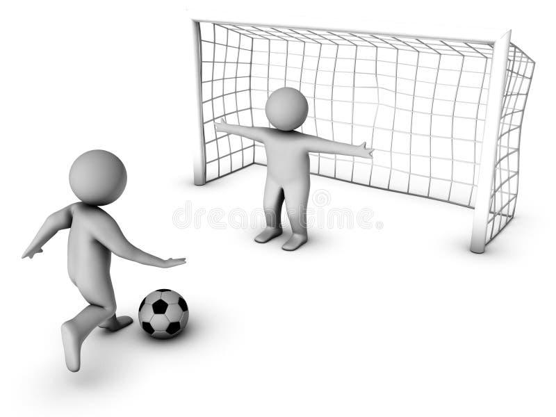 Dois jogadores de futebol 3D e a porta ilustração do vetor