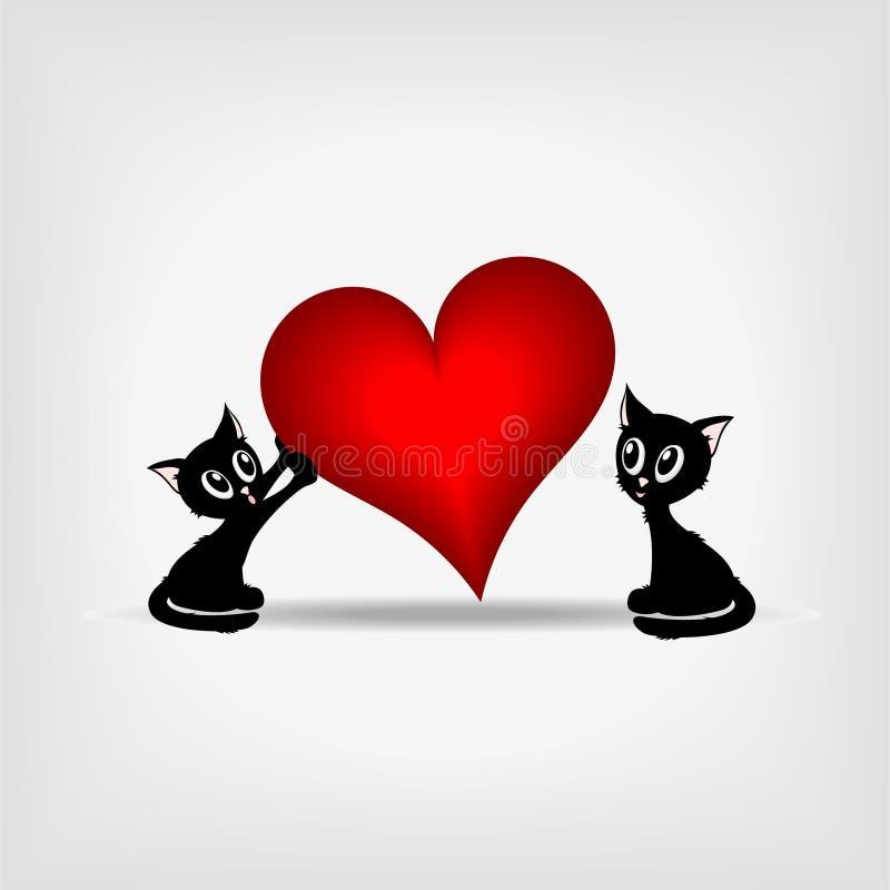 Dois kitens pretos e coração vermelho grande ilustração stock