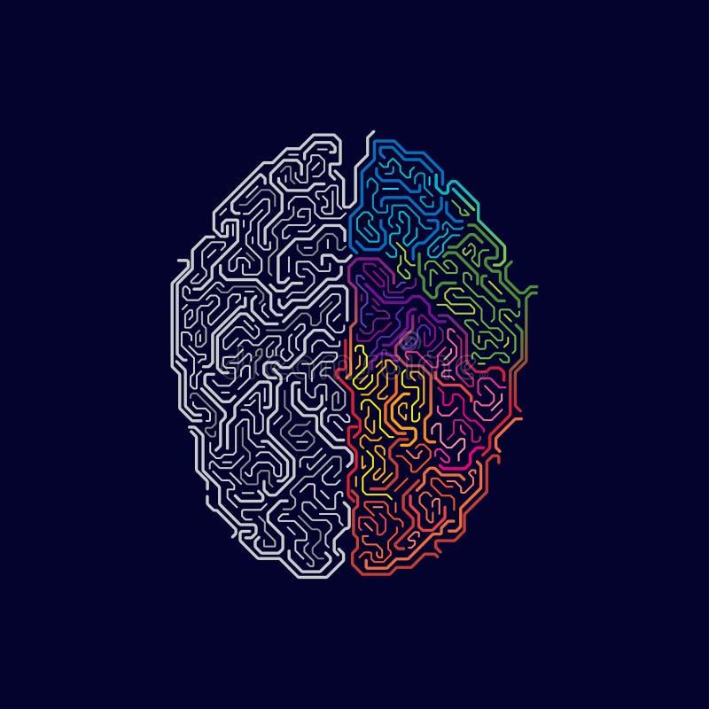 Dois lados do cérebro ilustração do vetor