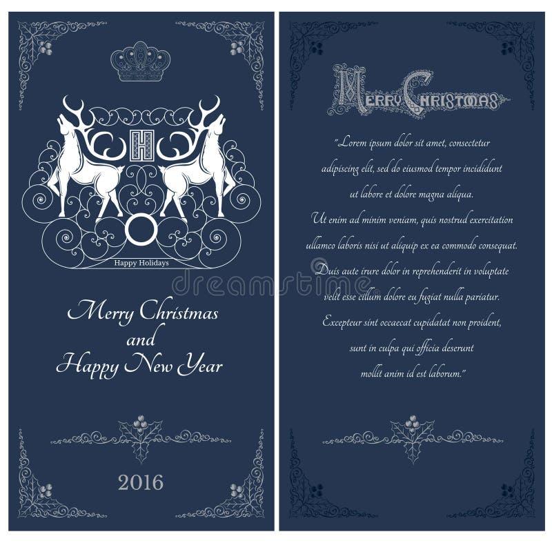 Dois lados do cartão do azul do Natal Dois cervos brancos contra um outros com teste padrão do redemoinho ilustração do vetor