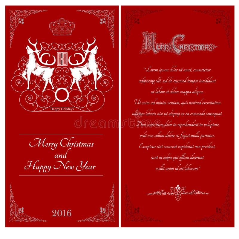 Dois lados do cartão do vermelho do Natal Dois cervos brancos contra um outros com teste padrão do redemoinho ilustração royalty free