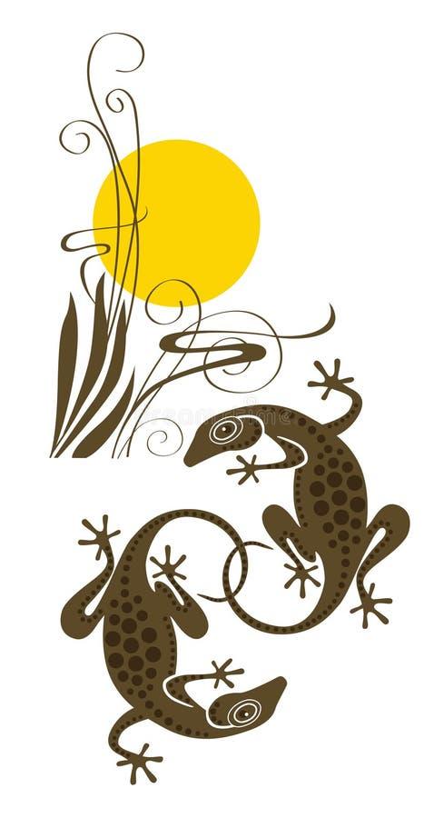 Dois lagartos ilustração royalty free