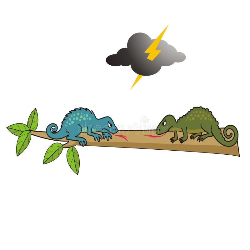 Dois lagartos bonitos prontos para lutar a ilustração do vetor fotos de stock royalty free