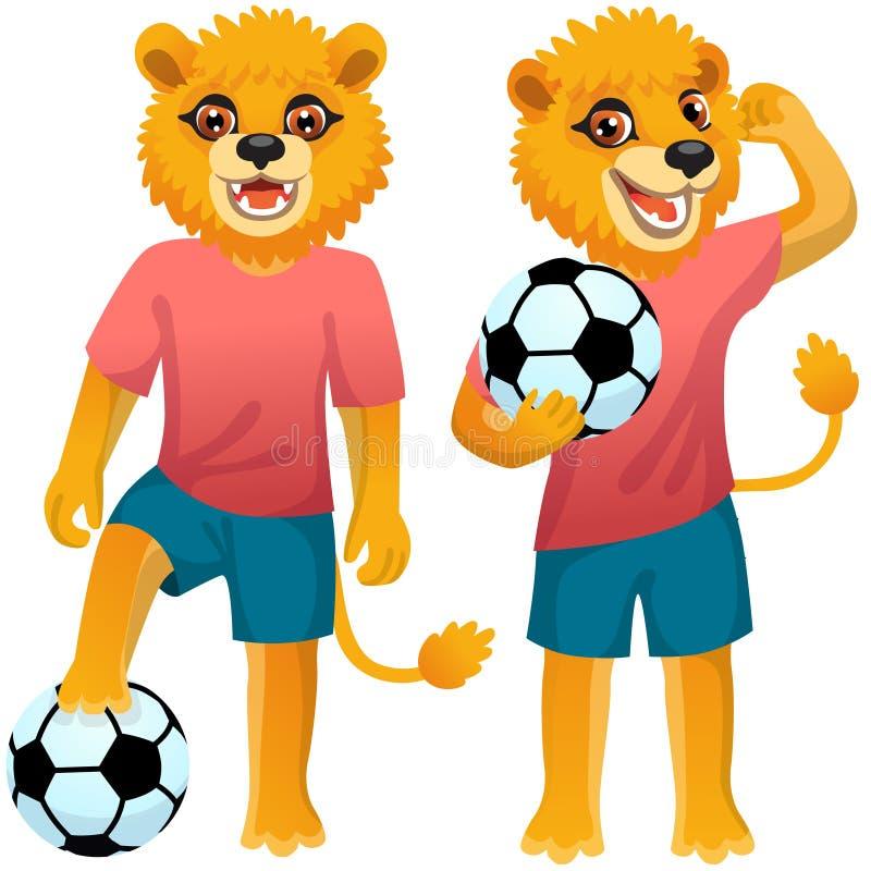 Dois leões de pé como os futebolistas de uniforme com a bola de futebol ilustração stock