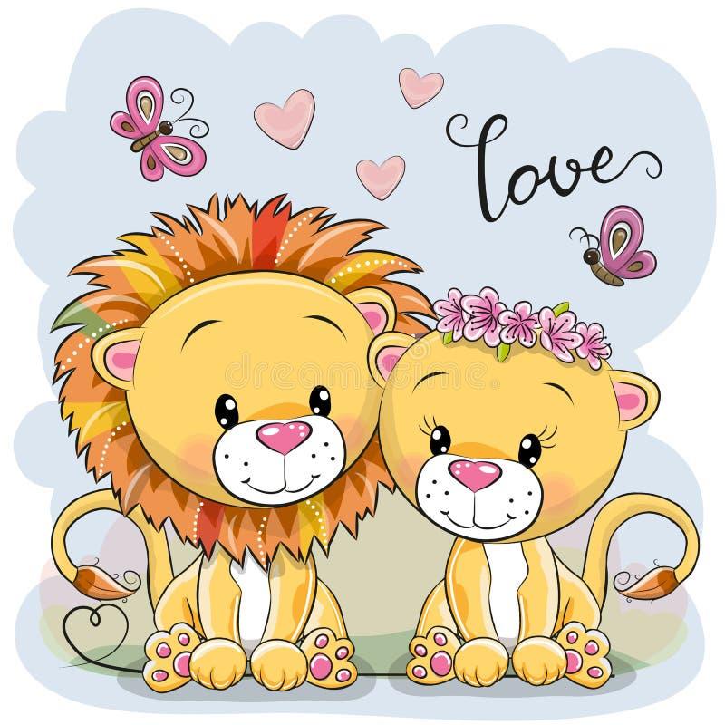 Dois leões em um fundo azul ilustração royalty free