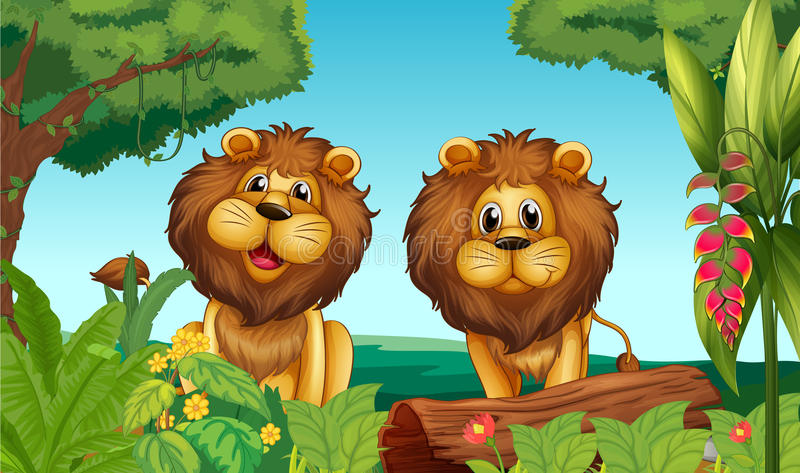 Dois leões na floresta ilustração royalty free