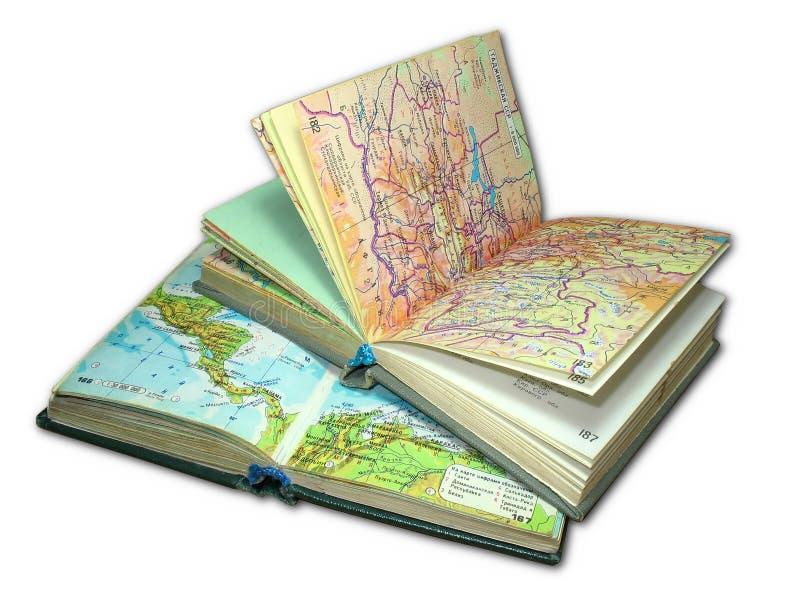 Dois livros velhos do atlas do mapa isolados fotos de stock royalty free