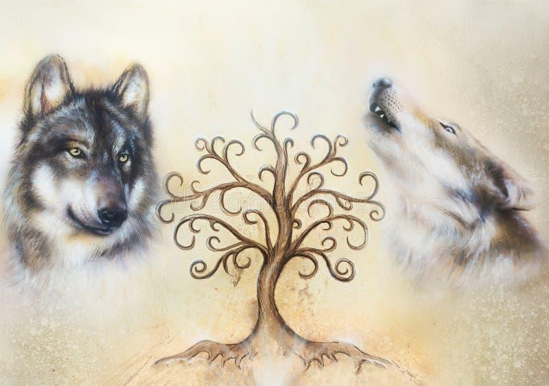 Dois lobos e árvores do símbolo da vida fotografia de stock